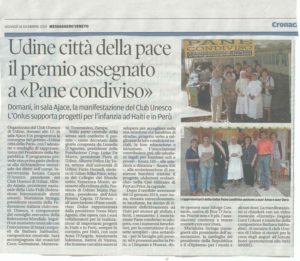 """Pane Condiviso è premio """"Udine città della pace"""" - Club Unesco Udine"""