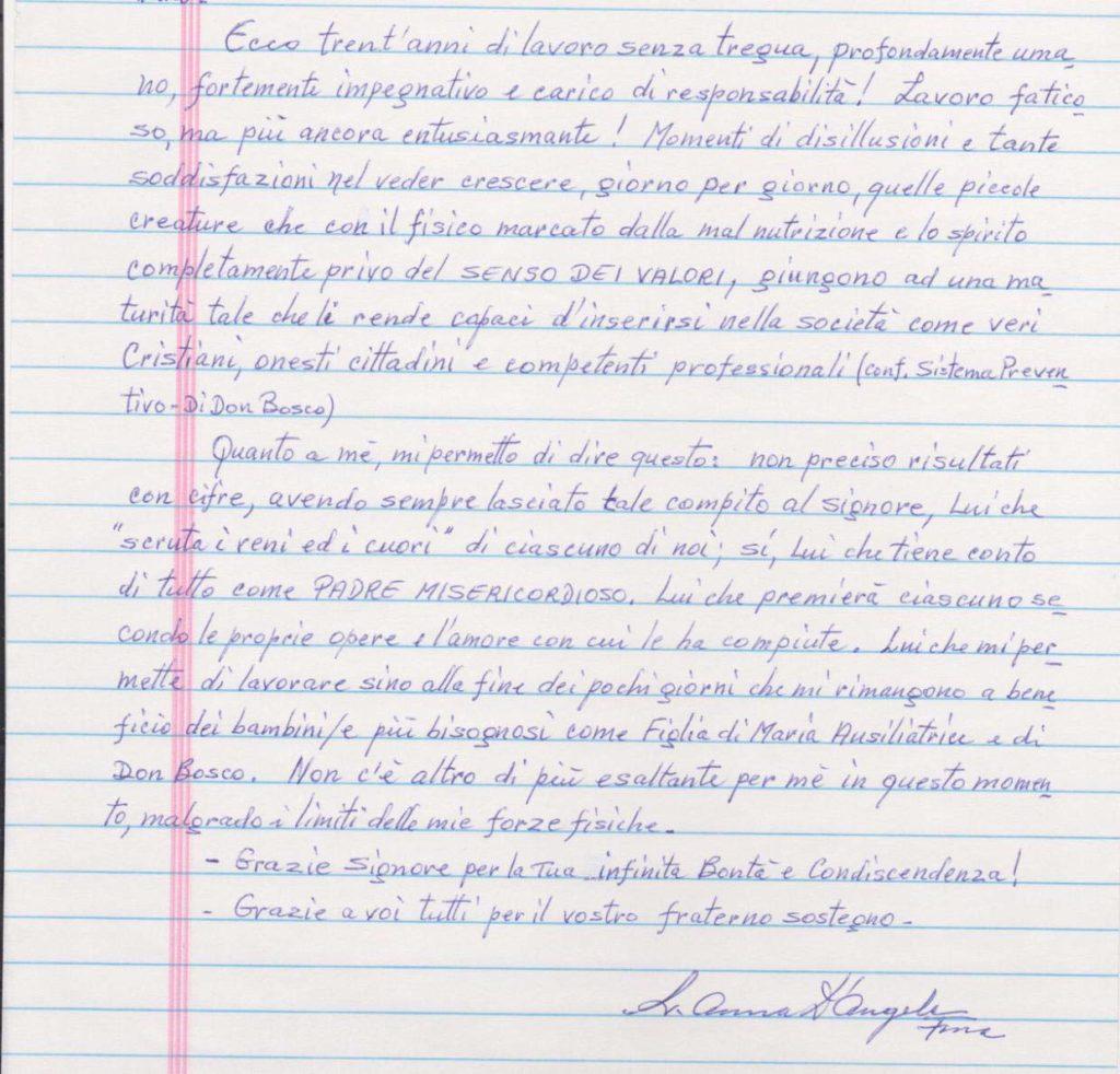 lettera scritta a mano da Suor Anna